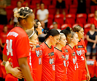 29th December 2019; Bendat Basketball Centre, Perth, Western Australia, Australia; Womens National Basketball League Australia, Perth Lynx versus Canberra Capitals; Perth Lynx players line up for the National Anthem - Editorial Use
