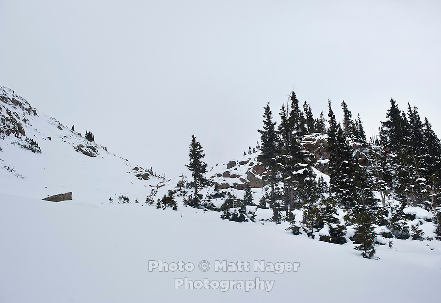 Coon Hill, which stands about 11,150 feet in elevation, near Summit County in Colorado, Thursday, February 16, 2012. Tests at this area showed that there was a fairly hard slab of snow resting on weaker snow beneath making conditions which can lead to avalanches...Photo by Matt Nager