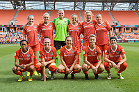 Houston, TX - Sunday March 25, 2018: Houston Dash starting XI during a regular season National Women's Soccer League (NWSL) match between the Houston Dash and the Chicago Red Stars at BBVA Compass Stadium. The game ended in a 1-1 draw.