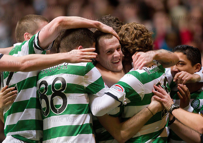 Anthony Stokes is mobbed after his second goal
