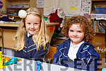 Megan Gleeson and Sophie Lehane enjoying their first days at Glenderry NS in Ballyheigue.