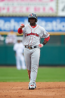 Pawtucket Red Sox outfielder Rusney Castillo (31) gestures to his teammates in the dugout after hitting a double during a game against the Rochester Red Wings on July 1, 2015 at Frontier Field in Rochester, New York.  Rochester defeated Pawtucket 8-4.  (Mike Janes/Four Seam Images)