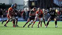 Leonardo Ghiraldini of Leicester Tigers looks for support during the Aviva Premiership Rugby match between Saracens and Leicester Tigers at Allianz Park on Saturday 11th April 2015 (Photo by Rob Munro)