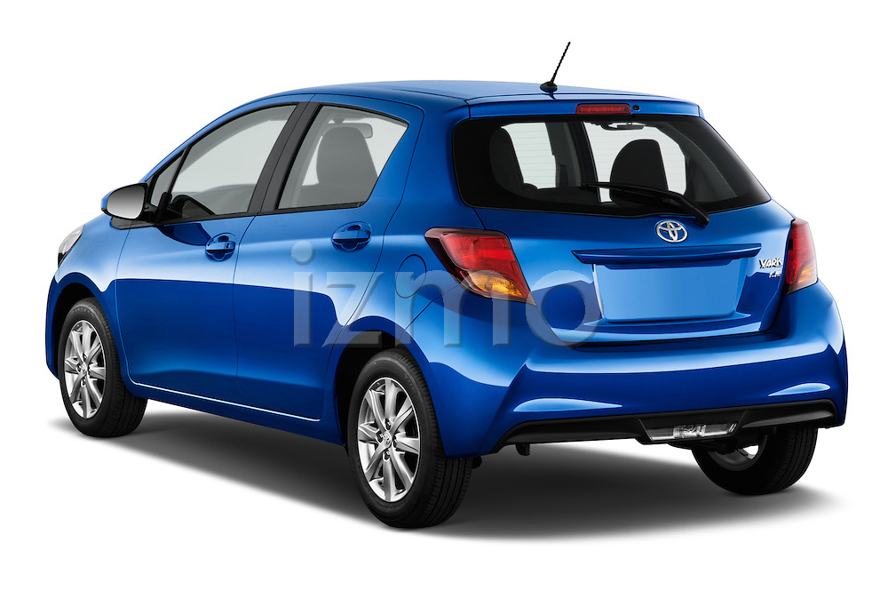 Car pictures of rear three quarter view of a 2015 Toyota Yaris Le 5 Door Hatchback angular rear