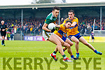 David Clifford Kerry in action against Gordon Kelly and Conall O hAinifein Clare during the Munster Senior Football Semi Final between Kerry and Clare at Ennis on Saturday night.