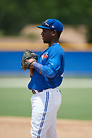 GCL Blue Jays first baseman Yhordegny Kelly (49) during a game against the GCL Pirates on July 20, 2017 at Bobby Mattick Training Center at Englebert Complex in Dunedin, Florida.  GCL Pirates defeated the GCL Blue Jays 11-6 in eleven innings.  (Mike Janes/Four Seam Images)