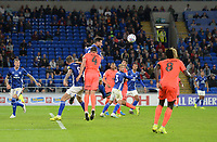 Cardiff City's Sean Morrison clears the danger for Cardiff <br /> <br /> Photographer Ian Cook/CameraSport<br /> <br /> The EFL Sky Bet Championship - Cardiff City v Huddersfield Town - Wednesday August 21st 2019 - Cardiff City Stadium - Cardiff<br /> <br /> World Copyright © 2019 CameraSport. All rights reserved. 43 Linden Ave. Countesthorpe. Leicester. England. LE8 5PG - Tel: +44 (0) 116 277 4147 - admin@camerasport.com - www.camerasport.com