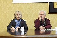 Roma, 16 Aprile 2011.Provincia di Roma, Sala Di Liegro.Commemorazione per Vittorio Arrigoni.Nella foto Giuliana Sgrena  e Loris Campetti del quotidiano Il Manifesto
