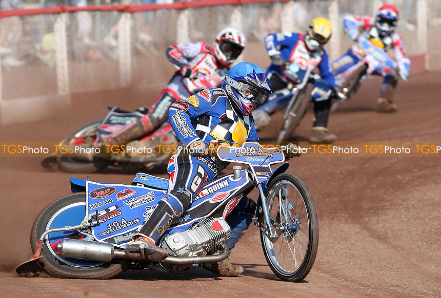 Ben Hopwood of Hackney Hawks leads - Lakeside Hammers vs Eastbourne Eagles, Elite League Speedway at the Arena Essex Raceway, Purfleet - 22/04/11 - MANDATORY CREDIT: Rob Newell/TGSPHOTO - Self billing applies where appropriate - 0845 094 6026 - contact@tgsphoto.co.uk - NO UNPAID USE.
