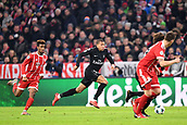 December 5th 2017, Allianze Arena, Munich, Germany. UEFA Champions league football, Bayern Munich versus Paris St Germain;  KYLIAN MBAPPE (psg) goes past Kingsley Coman (bay)