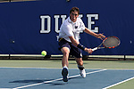 DURHAM, NC - APRIL 14: Notre Dame's Alex Lebedev. The Duke University Blue Devils hosted the University of Notre Dame Fighting Irish on April 14, 2017, at Ambler Tennis Stadium in Durham, NC in a Division I College Men's Tennis match. Duke won the match 4-3.