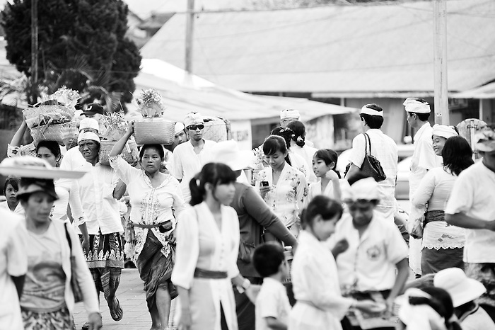 Black And White Photo Of Balinese People At A Religious