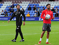 Lincoln City manager Danny Cowley, left, with Bruno Andrade<br /> <br /> Photographer Andrew Vaughan/CameraSport<br /> <br /> The EFL Sky Bet League One - Macclesfield Town v Lincoln City - Saturday 15th September 2018 - Moss Rose - Macclesfield<br /> <br /> World Copyright &copy; 2018 CameraSport. All rights reserved. 43 Linden Ave. Countesthorpe. Leicester. England. LE8 5PG - Tel: +44 (0) 116 277 4147 - admin@camerasport.com - www.camerasport.com