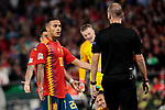 Spain's Thiago Alcantara have words with the referee during UEFA Nations League 2019 match between Spain and England at Benito Villamarin stadium in Sevilla, Spain. October 15, 2018. (ALTERPHOTOS/A. Perez Meca)