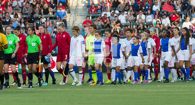 Carson, CA - Thursday August 03, 2017: USWNT, Japan, starting eleven during a 2017 Tournament of Nations match between the women's national teams of the United States (USA) and Japan (JAP) at StubHub Center.