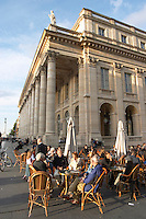 A cafe. Le Grand Theatre theatre and opera house on Place De La Comedie. Bordeaux city, Aquitaine, Gironde, France