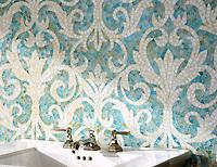 Serena, a jewel glass mosaic, is shown in Aquamarine and Quartz.