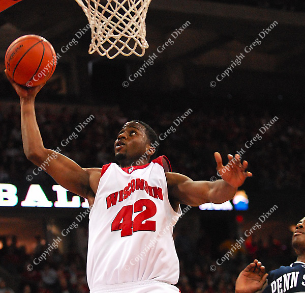 Alando Tucker leads the Badgers with 22 points in Wisconsin's 75-49 win over Penn State on Saturday at the Kohl Center