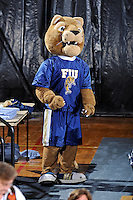 17 November 2011:  FIU's mascot, Roary, fires up the crowd as the FIU Golden Panthers defeated the Denver University Pioneers, 3-1 (25-21, 23-25, 25-21, 25-18), in the first round of the Sun Belt Conference Tournament at U.S Century Bank Arena in Miami, Florida.