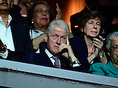 Former United States President Bill Clinton looks on as first lady Michelle Obama makes remarks at the 2016 Democratic National Convention at the Wells Fargo Center in Philadelphia, Pennsylvania on Monday, July 25, 2016.<br /> Credit: Ron Sachs / CNP<br /> (RESTRICTION: NO New York or New Jersey Newspapers or newspapers within a 75 mile radius of New York City)
