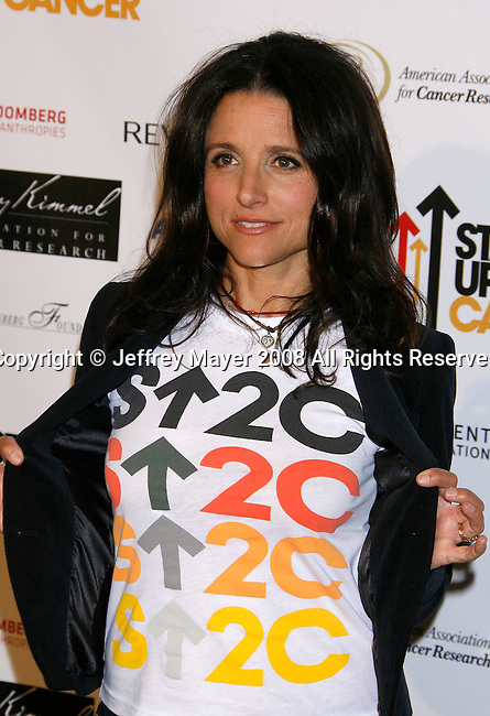 HOLLYWOOD, CA. - September 05: Actress Julia Louise-Dreyfus arrives at Stand Up For Cancer at The Kodak Theatre on September 5, 2008 in Hollywood, California.