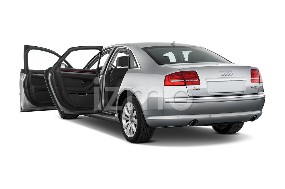 Rear three quarter door view of a 2010 Audi A8 4 Door Sedan 4WD