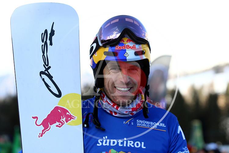 Snowboard World Cup 2018 FIS in Carezza, on December 14, 2017; Parallel Giant Slalom; Roland Fischnaller (ITA)<br /> &copy; Pierre Teyssot / Pentaphoto