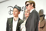 "(L-R) Japanese musician MIYAVI, actors Angelina Jolie and Sam Riley attend the Japan premiere for Disney's ""Maleficent: Mistress of Evil"" on October 3, 2019, in Tokyo, Japan. The movie is a sequel to 2014 hit ""Maleficent"" and will be released on October 18. (Photo by AFLO)"