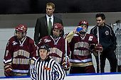 Anthony Aiello (BC 2), Greg Brown (BC Assistant Coach), Tim Kunes (BC 6), Mike Brennan (BC 4), Justin Murphy (BC student manager) - The Boston College Eagles and Providence Friars played to a 2-2 tie on Saturday, March 1, 2008 at Schneider Arena in Providence, Rhode Island.