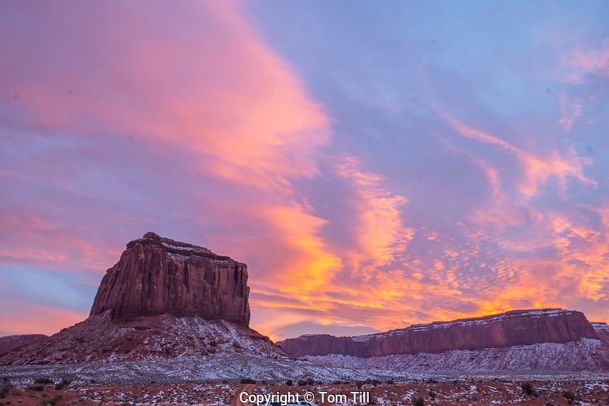 Monument Valley at winter sunset, Monument Valley Tribal Park, Arizona  Navajo Reservation