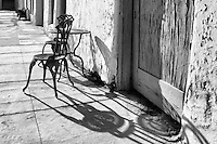 Cafe table & chairs outside Amargosa Opera House - Death Valley Junction - Black & White oil painting effect