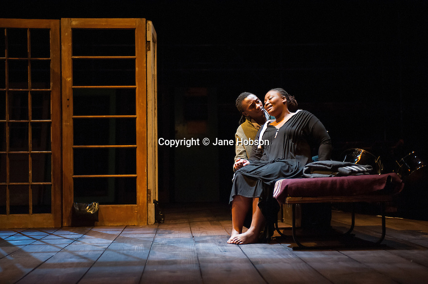 Isango Ensemble present a programme of three productions, at the Hackney Empire: La Boheme, the Ragged Trousered Philanthropists, and Aesop's Fables.Picture shows: Mhlekazi 'Wha Wha' Mosiea and Pauline Malefane, in La Boheme.