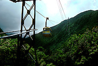 Cable car traveling between the port of La Guaira and Caracas,Venezuela, Caribbean. 1976