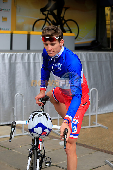 French National Champion Arnaud Demare (FRA) FDJ.FR at sign on before the start Stage 1 of the 2014 Tour de France running 190.5km from Leeds to Harrogate. 5th July 2014.<br /> Picture: Eoin Clarke www.newsfile.ie