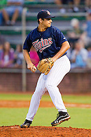 Elizabethton Twins relief pitcher J.T. Chargois #30 in action against the Bluefield Blue Jays at Joe O'Brien Field on July 14, 2012 in Elizabethton, Tennessee.  The Twins defeated the Blue Jays 4-0.  (Brian Westerholt/Four Seam Images)
