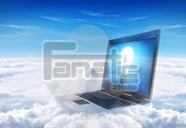 Illustration of laptop over cloudscape showing lit bulb on screen representing cloud computing