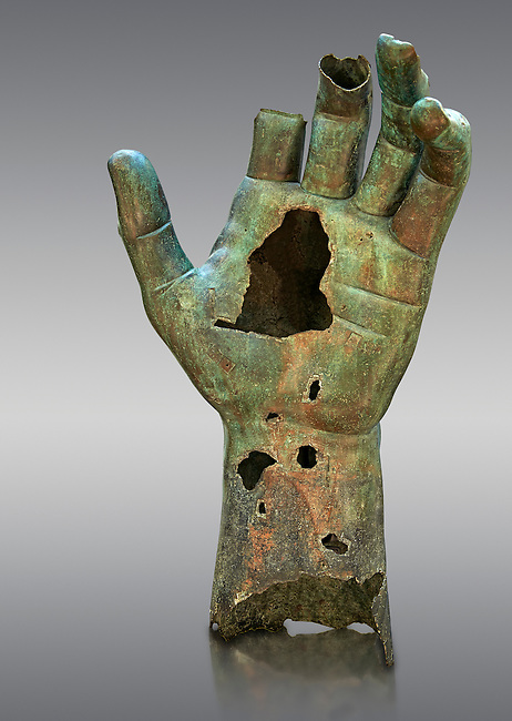Gigantic Roman bronze statue hand from Rome. The Capitoline Museums, Rome