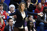 28 November 2014: Stony Brook head coach Caroline McCombs. The Duke University Blue Devils hosted the Stony Brook University Seahawks at Cameron Indoor Stadium in Durham, North Carolina in a 2014-15 NCAA Division I Women's Basketball game. Duke won the game 72-42.