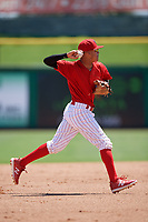Clearwater Threshers shortstop Arquimedes Gamboa (7) throws to first base during a game against the Fort Myers Miracle on April 25, 2018 at Spectrum Field in Clearwater, Florida.  Clearwater defeated Fort Myers 9-5. (Mike Janes/Four Seam Images)