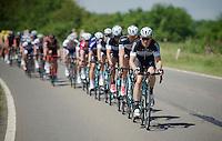 Andrew Fenn (GBR/OPQS) leading the peloton<br /> <br /> 2014 Belgium Tour<br /> stage 4: Lacs de l'Eau d'Heure - Lacs de l'Eau d'Heure (178km)