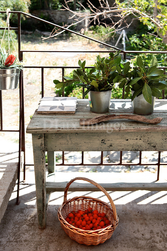 wooden table in the balcony