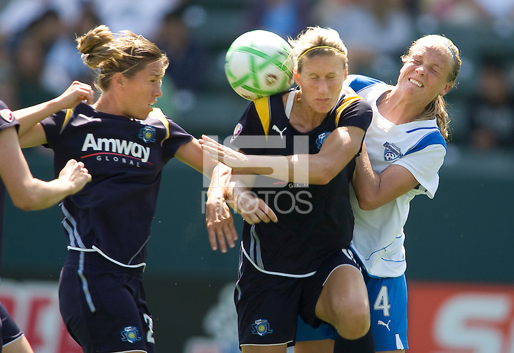 LA Sol's Allison Falk collides with the ball and Boston Breakers Stacy Bishop. The Boston Breakers and LA Sol played to a 0-0 draw at Home Depot Center stadium in Carson, California on Sunday May 10, 2009.   .