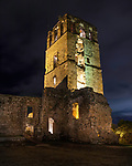 The tower of the Cathedral of Our Lady of Asunción, built between 1619 and 1626.  The cathedral was destroyed and only the tower remains.  Ruins of Panama Viejo, Old Panama.  Founded in 1519, and destroyed by Henry Morgan, the pirate, in 1671.  A UNESCO World Heritage Site.