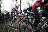 Sylvain Chavanel (FRA) up the Muur van Geraardsbergen<br /> <br /> Omloop Het Nieuwsblad 2014