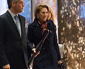 Former Republican presidential primary candidate Carly Fiorina is seen in the lobby of Trump Tower in New York, NY, USA upon her arrival on December 12, 2016.<br /> Credit: Albin Lohr-Jones / Pool via CNP