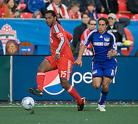26 April 2009:  Toronto FC defender Adrian Serioux #15 and Kansas City Wizards forward Josh Wolff #16 in action during an MLS game at BMO Field between Kansas City Wizards and Toronto FC.Toronto FC won 1-0. .