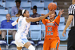 17 November 2015: North Carolina's Stephanie Watts (5) steals the ball from Florida A&M's Olivia Antilla (21). The University of North Carolina Tar Heels hosted the Florida A&M University Rattlers at Carmichael Arena in Chapel Hill, North Carolina in a 2015-16 NCAA Division I Women's Basketball game. UNC won the game 94-58.