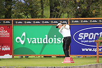 Ashun Wu (CHN) tees off the 12th tee during Sunday's Final Round of the 2017 Omega European Masters held at Golf Club Crans-Sur-Sierre, Crans Montana, Switzerland. 10th September 2017.<br /> Picture: Eoin Clarke | Golffile<br /> <br /> <br /> All photos usage must carry mandatory copyright credit (&copy; Golffile | Eoin Clarke)