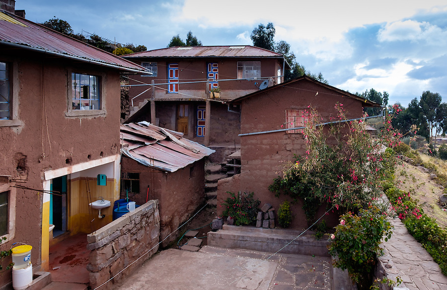 PUNO, PERU - CIRCA OCTOBER 2015: Typical tourist home-stay of the Island of Taquile in Lake Titicaca.