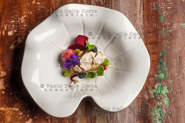 Kobarid - Hiša Franko - Food. Questa rosa è per te – gioco di frutti di bosco d'alta quota e abete.